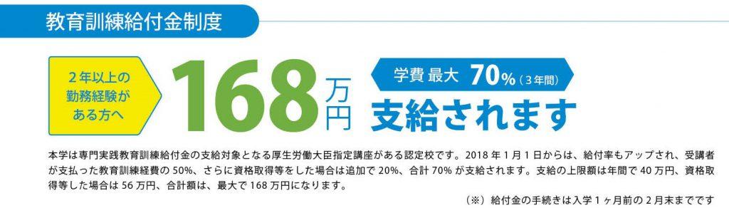 【専門実践教育訓練給付金制度】3年間合計で最大168万円の給付