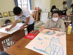 作業療法学科の学生アート